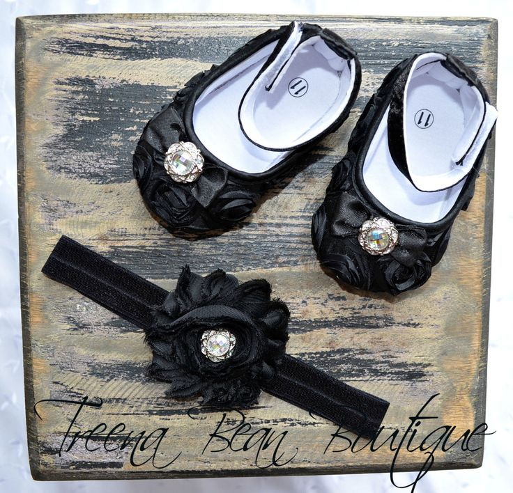 Black Baby Girl ShoesFancy Glamour Baby Crib by TreenaBean on Etsy, $19.95