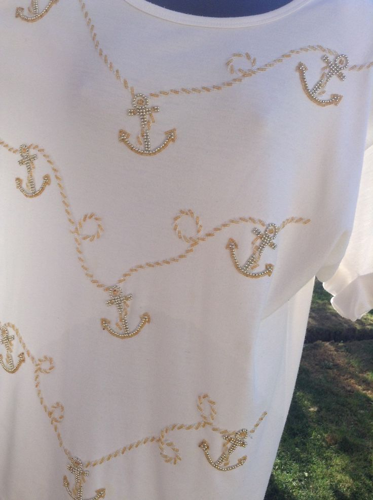 80's Beaded Anchor and Rope Design White Short Sleeve Tunic / Top, gold and silver beads, original 80's, egst, Greece by GirlyVintageByDeJaVu on Etsy
