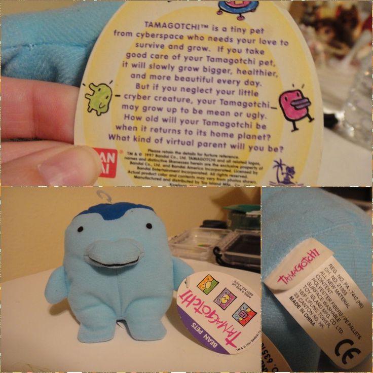 Vintage Bandai #Tamagotchi Blue Bean Bag Plush New W Tags 5 Inches Tall #Bandai