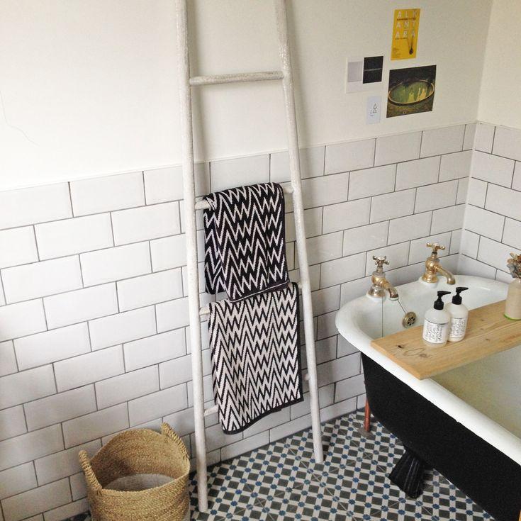 Bathroom White Metro Tiles Brick Bond With Black Painted