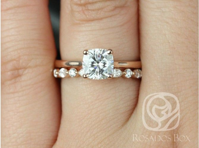 Rosados Box Skinny Florence Cher Rose Gold Cushion Moissanite And Diamonds Tulip Cathedral Solitaire Wedding Set