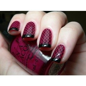 Lovin this!: Dark Nails, Burlesque Nails, Fish Net, Nails Art, Fishnet Patterns, French Manicures, Nails Polish, Sexy Nails, Fishnet Nails