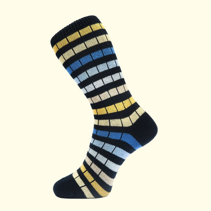 Chunky Knit Stripe Sock in Navy