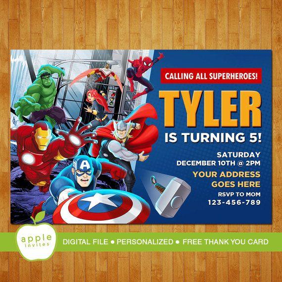 Avengers Invitation, Avengers Birthday, Avengers Party ...
