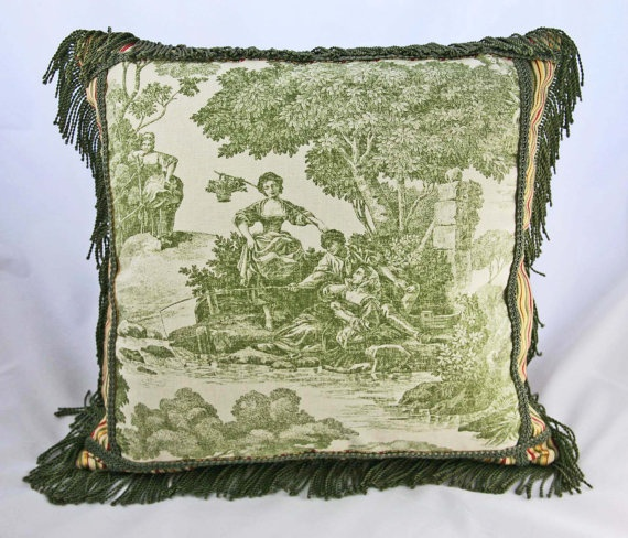 Green Toile Pillow Cover, Decorative Pillow, Striped, Stripes, Red, Gold, Cream, French Country ...
