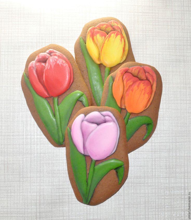 Купить Пряник имбирный Цветок - комбинированный, Пряники имбирные, пряничный сувенир, пряничный подарок