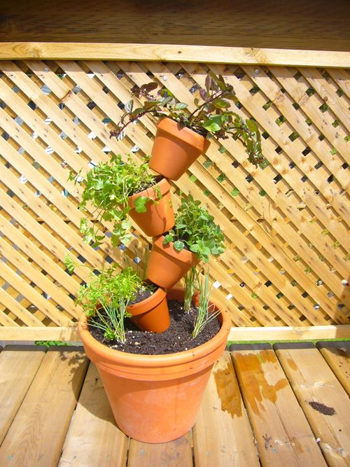 Image detail for -DIY fun, stacked terra cotta planter