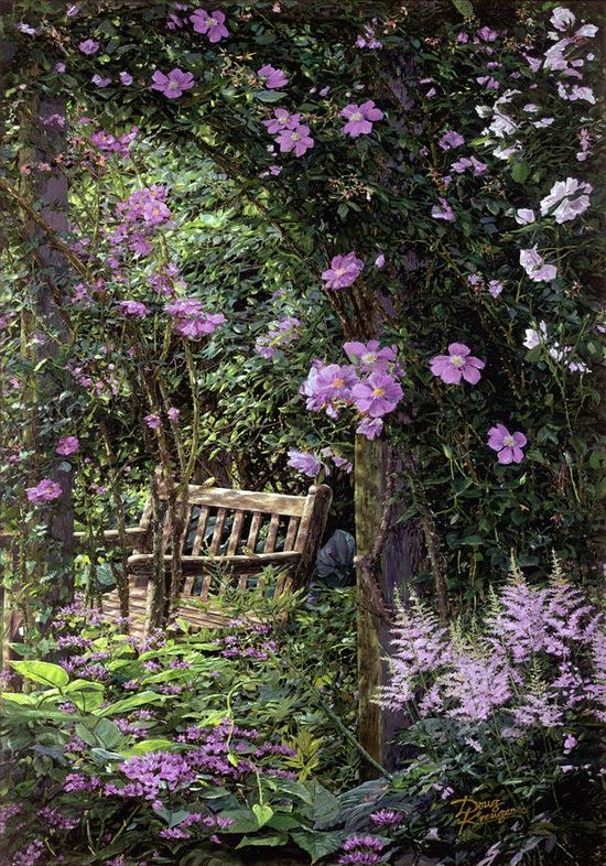 What a great idea for my very old lilac tree: have a clematis climb it! Love the astilbe, too. I have some pink astilbe out front, but need to find some of this purple beauty!  Bench in the Garden