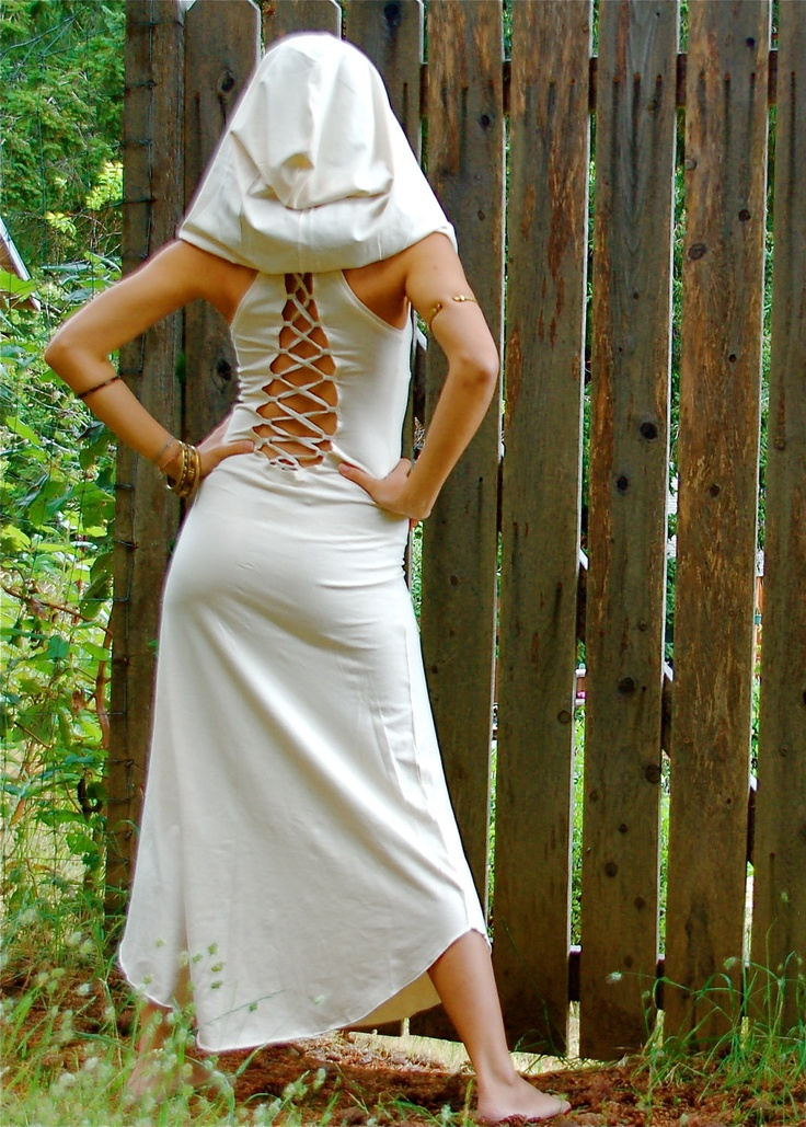 The Nienna Dress With Hood And Open Back In Cream, white, hippie dress, sexy, elf, elven, elvish, fairy, Bohemian Princess. $110.00, via Etsy.