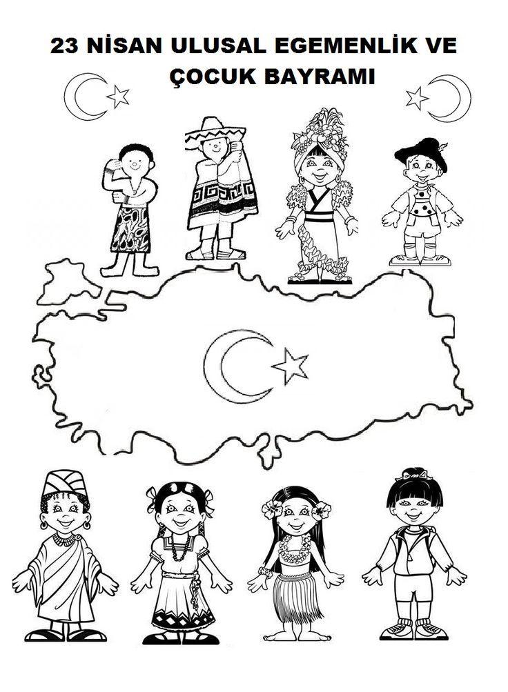 23 Nisan Boyama Sayfaları Atatürk Pinterest Fundas Niños Ve