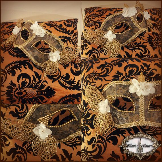 Black and gold Venetian mask covered with golden lace. Totally hand-painted. The mask is beautifully decorated with golden trimmings, golden