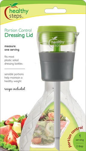 Healthy Steps Portion Control Dressing Lid - Measures one serving at a time.  Plus there's no way you can cheat and over-fill the chamber.