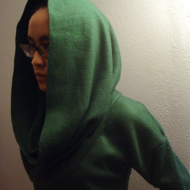 cowl neck sweater from a fleece blanket...also doubles as a hood.
