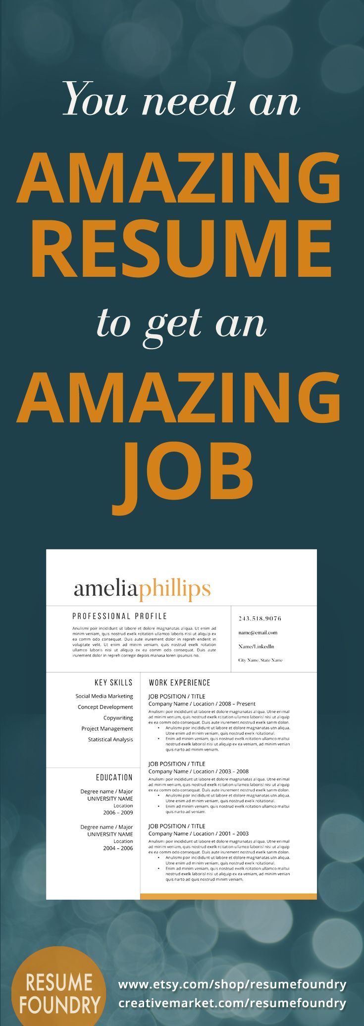Having an amazing resume can only help your job search. Easy to use in Microsoft Word - download this resume today.