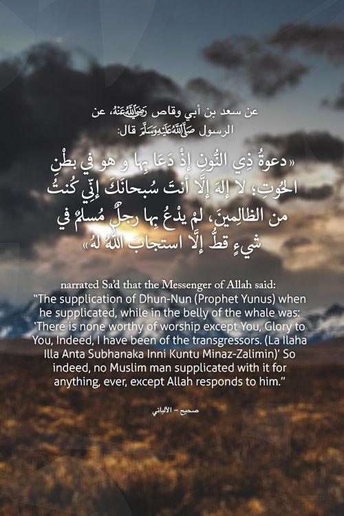 """عن سعد بن أبي وقاص، عن الرسول صلى الله عليه وسلم قال:"""" دعوةُ ذِي النُّونِ إذْ دَعَا بِها و هو في بطْنِ الحُوتِ ؛ لا إلهَ إلَّا أنتَ سُبحانَكَ إنِّي كُنتُ من الظالِمينَ ، لمْ يدْعُ بِها رجلٌ مُسلمٌ في شيءٍ قطُّ إلَّا استجابَ اللهُ لهُ"""" صحيح - الألباني"""