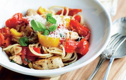Spaghetti med kyllingepeperonata | Opskrift til 5:2 Kuren