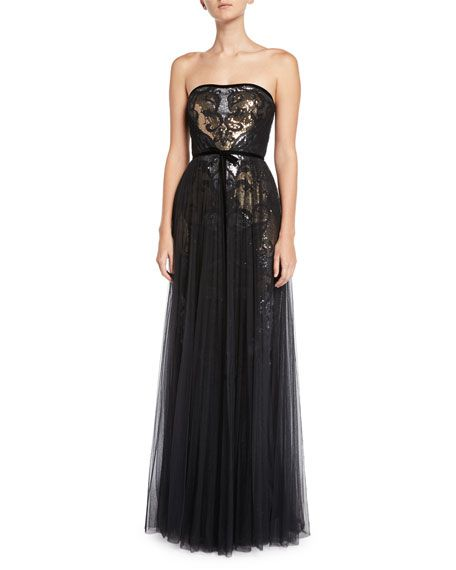 b28f3e6b Get free shipping on Marchesa Notte Sequin & Tulle Pleated Strapless Gown  at Neiman Marcus. Shop the latest luxury fashions from top designers.