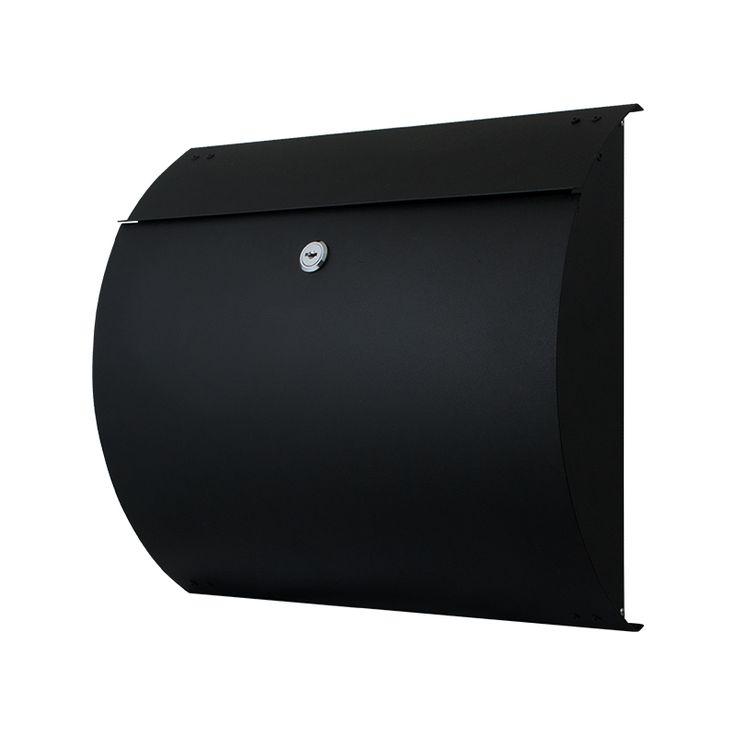 Zwarte postkast 330x375mm met 4 sleutels. Roestvast staal basis met duurzame coating in zwart zandstructuur.
