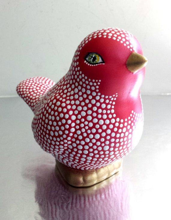 Birdie Red and White hand painted ceramic Bird by PearlesPainting