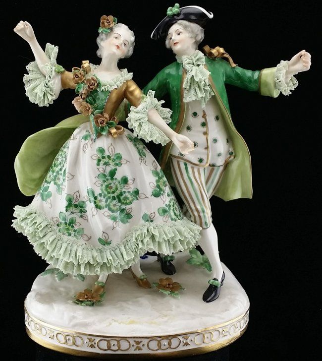 Vintage Dresden Porcelain Victorian Couple Figure : Lot 4