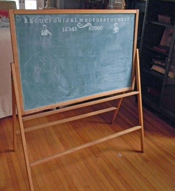 Vintage Free Standing Chalk Board Easel For The Play And