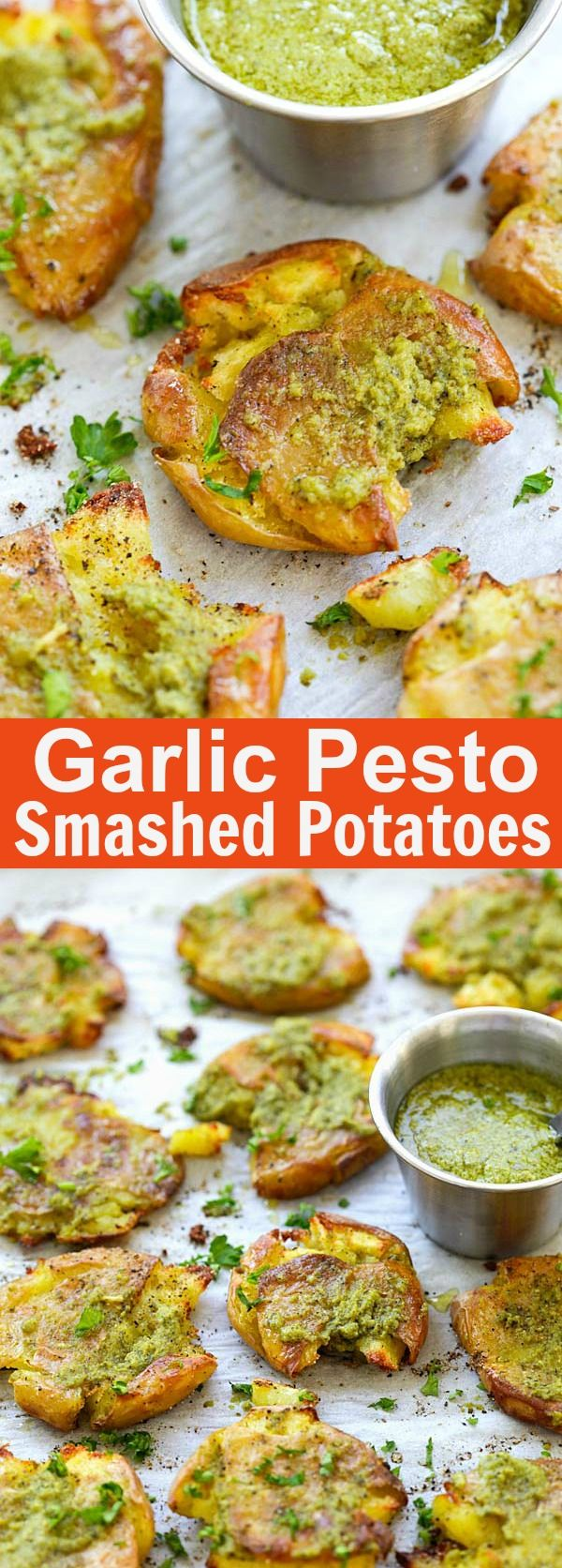 Garlic Pesto Smashed Potatoes – the best potatoes recipe ever with smashed baby potatoes topped with delicious garlic pesto. So good | rasamalaysia.com