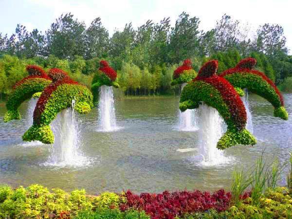 CHINESE GARDENS: Waterfeatur, Water Gardens, Water Features, Dolphins, Gardens Idea, Gardens Art, Topiaries, Maze, Labyrinths
