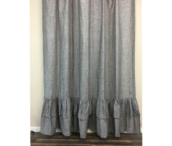 Chambray Grey Shower Curtain With Two Layers Of Ruffles 72x72