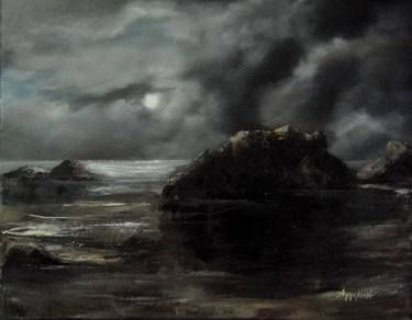 "Saatchi Art Artist ΑγγελικΗ  Aggeliki; Painting, ""Solitude "" #art Size: 40 H x 50 W x 2 cm"