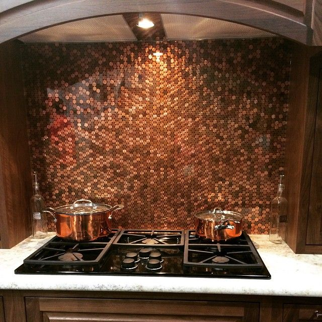 41 best images about penny backsplash on pinterest for Kitchen penny backsplash