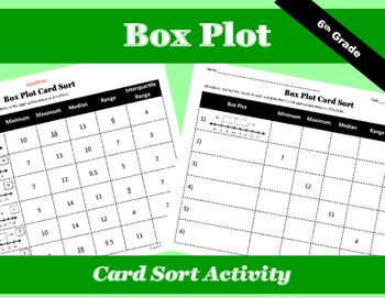 This box plot card sort offers a fun way for students to test their knowledge of the minimum, maximum, median, range, and interquartile range of a box plot.  Students cut out the graphs and numbers and then glue them in the appropriate place on the sheet provided.