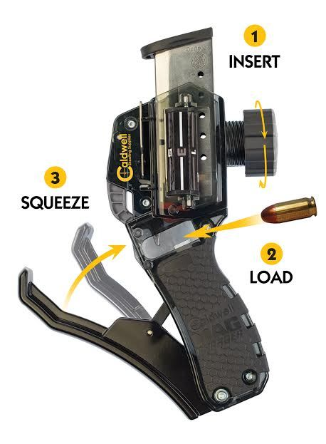 Caldwell Shooting Supplies is releasing a universal handgun magazine loader that can take both double and single stack designs. It works via inserting a magazine into the holder, tightening a knob down, then inserting a round at a time into an opening, and squeezing a sort of trigger that presses the round into place while …   Read More …