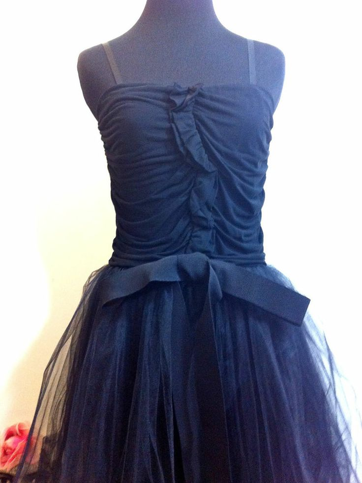 Red Valentino Black Cocktail Tulle Dress Ruched with Bow $495 Womens Small ITALY