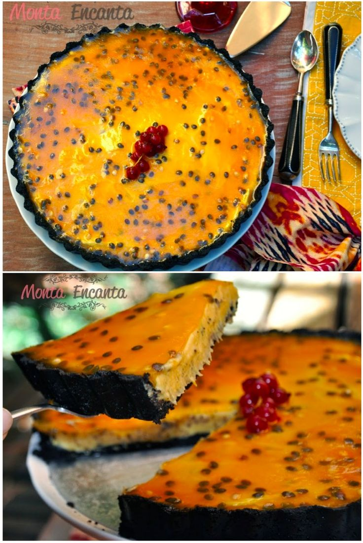Torta Oreo Trufada de Maracujá, Fina camada de massa crocante de Oreo, com recheio trufado de maracujá coberto por uma calda transparente de maracujá.