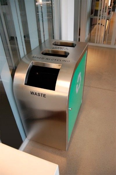 Make a great first impression! Enhance your  sustainability program with the Leaf Triple Stream Recycling Bin.