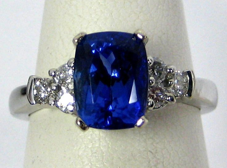 2.68CT AAAA LAB CERTIFIED Tanzanite Ring PAVE Diamond 18K White FREE APP. $5,237 #MerrittJewelry #Solitaire