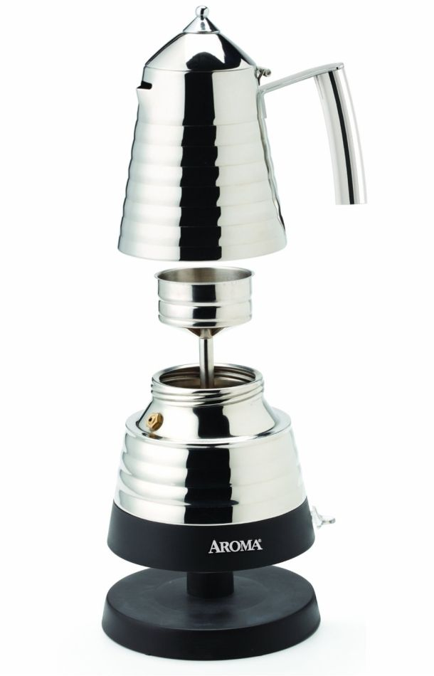 The Aroma AEM-621SS Hot Moka X-Press Electric Moka Maker offers the benefits of a classic brewing method directly on the countertop.