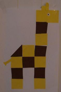 * Giraffe van vierkantjes, kant en klaar of laat ze zelf vouwen/knippen...
