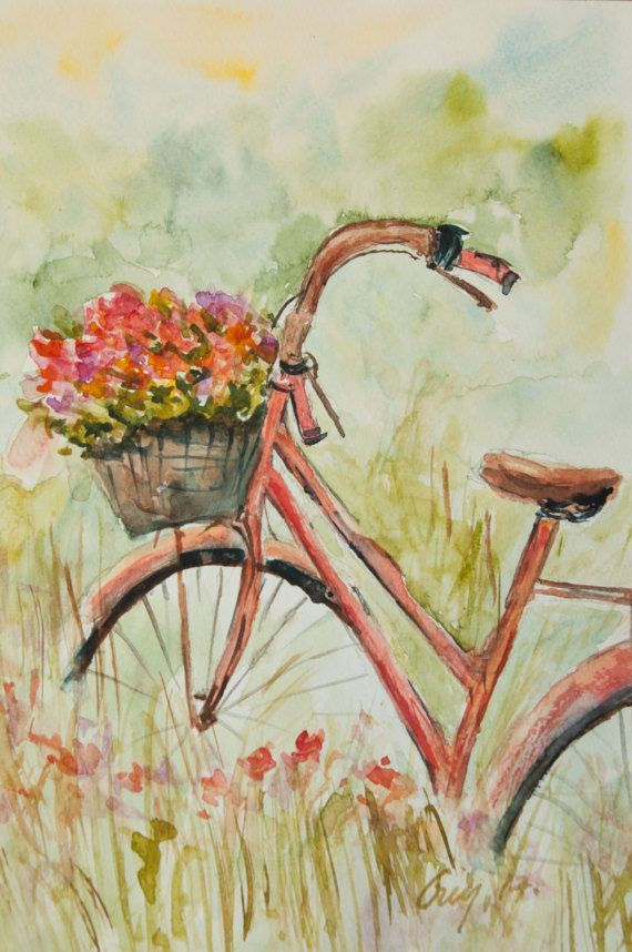 Red bicycle with flowers Original watercolor painting with