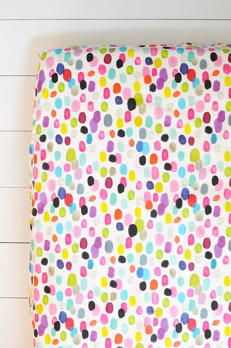 fitted crib sheet in hand painted confetti | candy kirby designs
