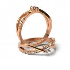 Inel de logodna cu diamante Patrik din aur roz