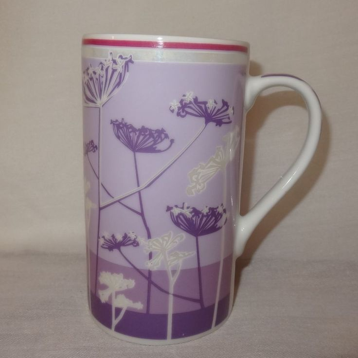 Milkweed Flowers Purple Tall Coffee Mug Cup 11 oz Typhoon Porcelain  #Typhoon