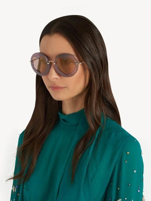 2352baab3369 Miu Miu Two Heart-overlay round-frame sunglasses #MiuMiu | Miu Miu ...