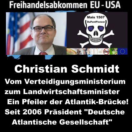 Er ist der Bundesminister für Ernährung und Landwirtschaft, Christian Schmidt und er ist der Präsident der Deutschen Atlantischen Gesellschaft .