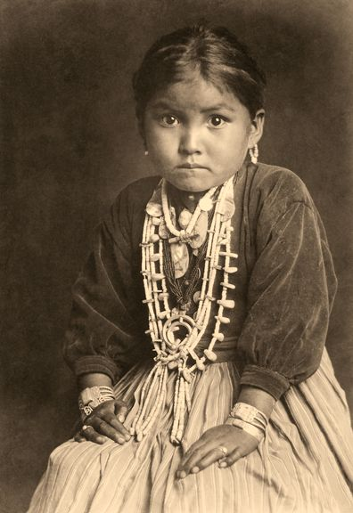 Photograph of a beautiful Native American child taken by Edward Curtis