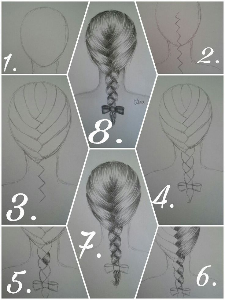 How to draw a French braid correctly? Drawing scetch