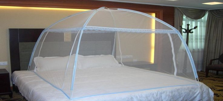 Mosquito net with spring steel technology. Foldable, washable & Portable.