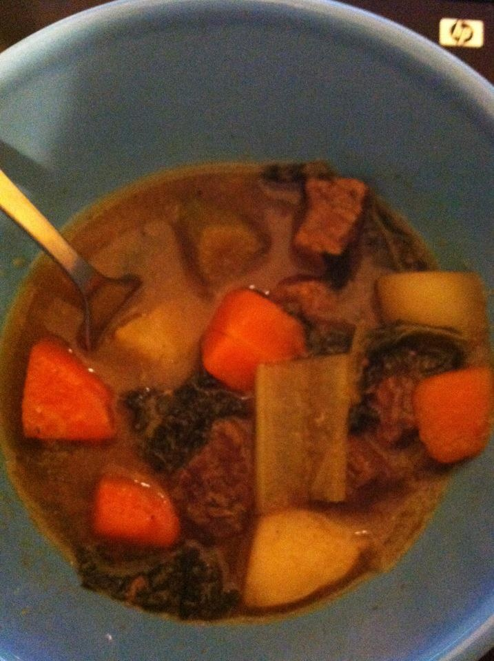 Courtesy of Brandy: beef stew with potatoes, kale, fennel, carrots, onion, garlic, and celery