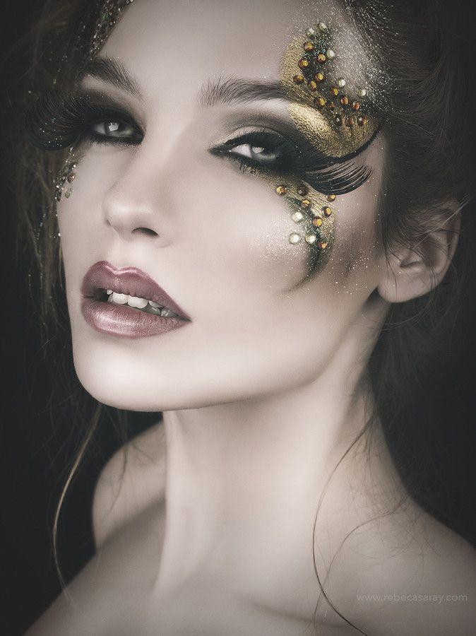 gold + black diamante makeup