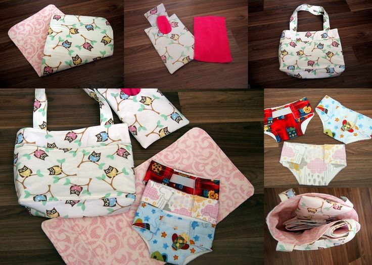 Dolly nappy bag - includes 3 nappies, wipes case and wipes plus change mat.